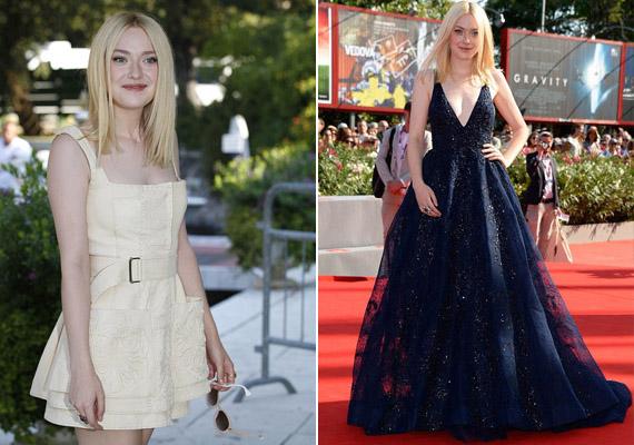 Dakota a fesztivál napján két tervező ruháit is viselte. Balra a délutáni szerelése, mely Alexander McQueen krémszínű alkotása, jobbra pedig a premieren viselt Elie Saab kreáció.