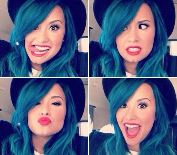 Ezzel a frizurával elég sokáig bírta, decemberben azonban meglett az eredménye a hosszú várakozásnak: az egész haját kékre festette.