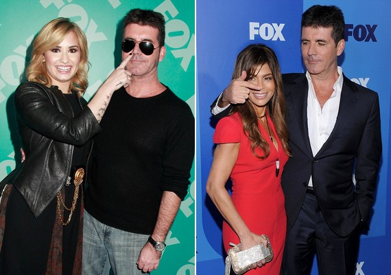 A lány is partner volt a játékban, és Simon kimondottan élvezi a hölgykoszorút: a szintén X-Factor-mentor Paula Abdul is kapott a figyelemből.