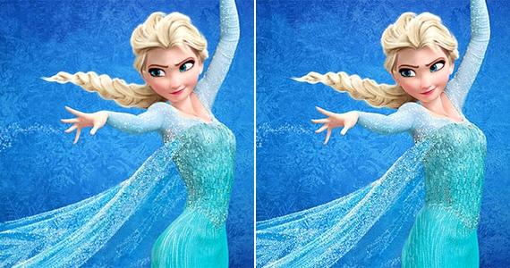 A Jégvarázs főszereplője, Elsa formái itt-ott el vannak túlozva, máshol pedig túl keskenyek lettek a mesében.