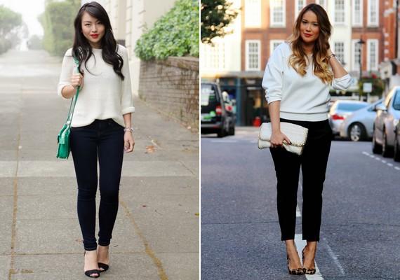 Egy teljesen egyszerű, lezser, fehér pulcsira mindenkinek szüksége van. Ez kombinálható farmerral vagy más nadrággal, de akár szoknyával is.