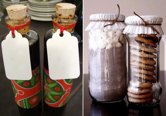 Készíts házi likőrt, és tedd egyedi üvegekbe! Ha nem szeretnél alkoholos italt ajándékozni, jö ötlet, ha forrócsoki-port adsz egy kis keksszel, egy-egy szép üvegben.