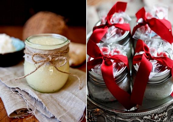 Kencefice-kedvelő ismerőseidnek házi bőrradírt is ajándékozhatsz, amit különleges üvegben adsz át. Ha ide kattintasz, egy csodás kókuszosbőrradír-receptet találsz.