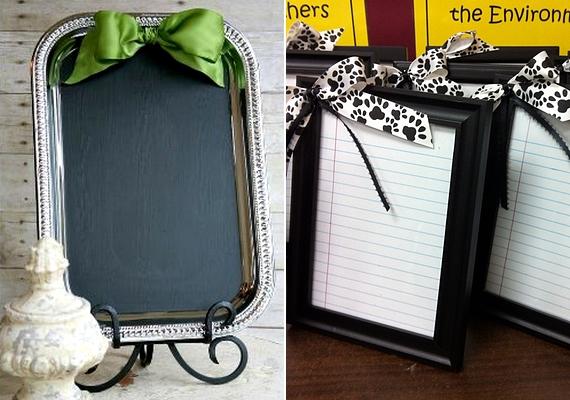 Férfinak és nőnek is ideális lehet az üzenőtábla, amelyet akár egy régi tálcából is elkészíthetsz, csak fesd le a lapját táblafestékkel, és vegyél hozzá néhány krétát! Egy szép képkeretbe is elhelyezhetsz írható felületet.