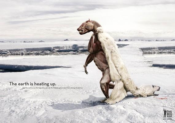 Szintén ezt a témát feszegeti a bőrét levetett jegesmedve, bár ez a plakát egy petíciót reklámoz, ami a Föld felmelegedése ellen küzd.