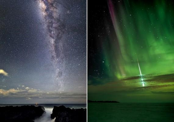 Bal oldali fotó: Luc Perrot: A Tejút a Réunion-sziget felettJobb oldali fotó: Shannon Bileski: Meteor Kanada felett