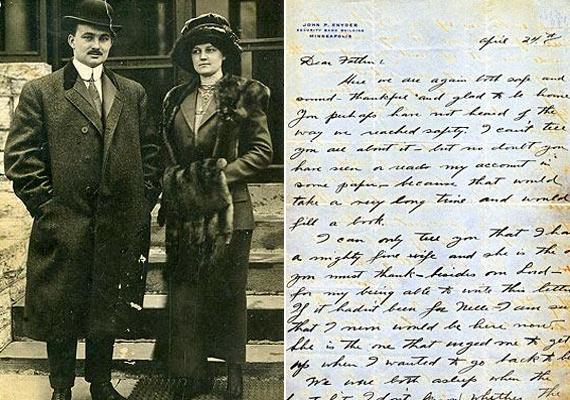 Balra: John és Nelle Pillsbury Snyder túlélők, nem sokkal a tragédia után. Jobbra: John Snyder köszönőlevele a cigarettáját gyártó társaságnak, amit a hajóról írt, két nappal a tragédia előtt.