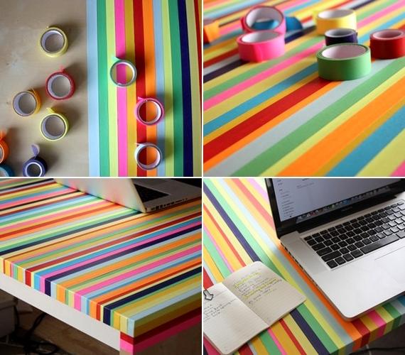Még a bútoraidat is felújíthatod: jól mutat, ha szivárványszínű ragasztószalagokkal dekorálod az asztalt.