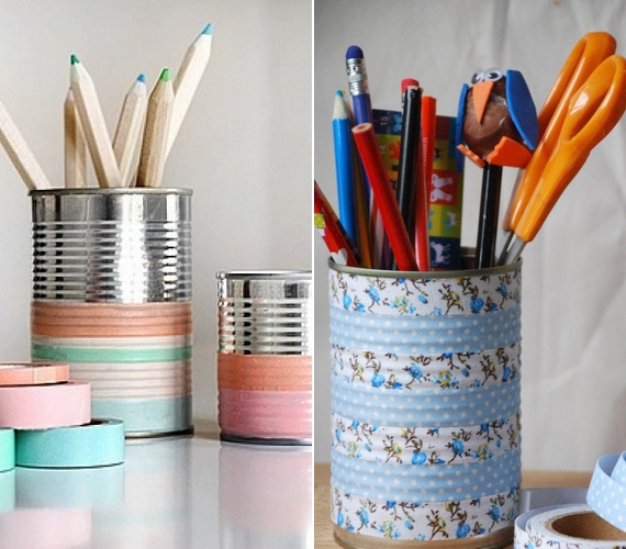 Megtisztított konzervdobozokból csinos kis ceruzatartókat készíthetsz mintás dekorszalag segítségével.