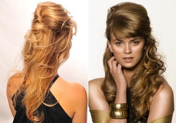 Jól mutat, ha a hullámos hajat egy kicsit feltupírozod, és a felső rétegét feltűzöd.