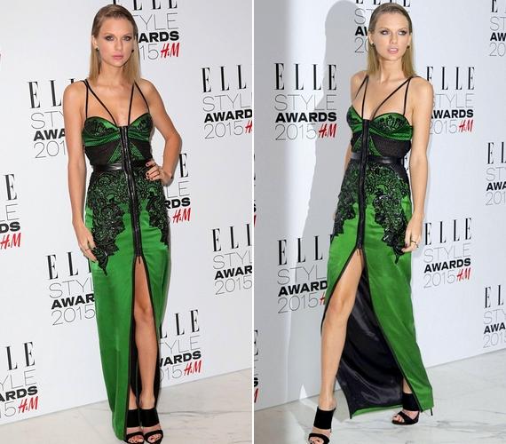 Taylor Swift egy combig sliccelt, felül nyitott, vékony pántosJulien Macdonald kreációban érkezett a díjátadóra.
