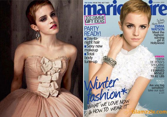 Balra az Elle magazin fotóin, jobbra a Marie Claire címlapján.