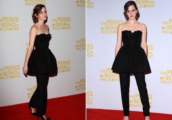 Egy bemutatón a kis fekete Dior ruhája alá szövetnadrágot húzott.