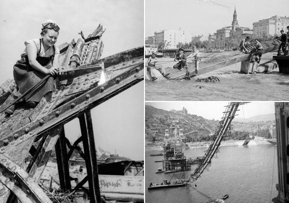 A negyvenes évek végén kiemelték a roncsokat a Dunából. A munkálatokban nők is részt vettek.