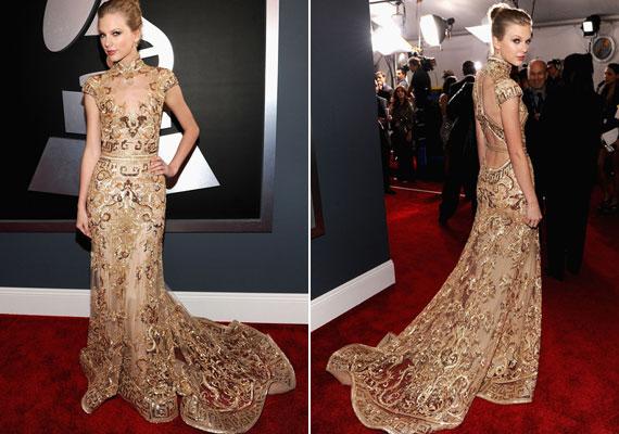 Taylor Swift igazi nő volt a Zahair Murad aranyló estélyijében.