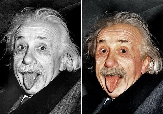 Mads Madsen Einsteinnek zöldesszürkés szemeket varázsolt.