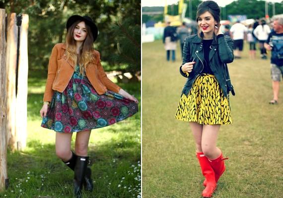 A vintage bőrdzseki-szoknya-csizma kombó idén nagyon népszerű, és a hűvösebb napokon is megállja a helyét.
