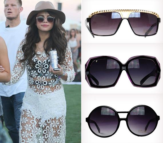 Selena Gomez földig érő, hófehér csipkeruhában jelent meg a Coachellán, ami alatt mindent látni lehetett.Ha nem is a csipkeruhát, de Selena napszemüvegét mindenképp ajánljuk a Szigetre is! A nagyméretű, sötét, csini-mini napszemüvegek óvnak az erős naptól, a buli végén pedig ápolva takarják fáradt szemed. A jobb oldalon látható darabokat beszerezheted a FeminaShop fesztiválra hangolt kollekciójában!