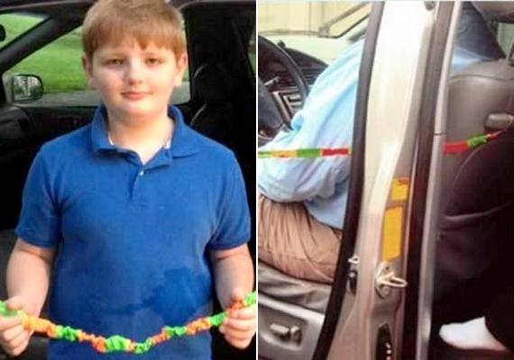 Évente 38 gyermek hal meg azért, mert a szülei a kocsiban felejtik. A 11 évesAndrew Pelham ennek megelőzésére elkészített egy gumikötelet, amely az ajtóhoz és a hátsó üléshez csatlakoztatva megakadályozza, hogy a vezető kiszálljon, emlékeztetve őt a hátul utazó babára.