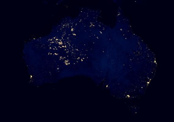 Ausztrália éjszaka, az űrből.