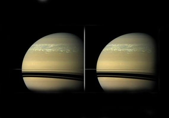 11 órával később azonban már hatalmas erővel söpör végig a Szaturnusz felszínén.
