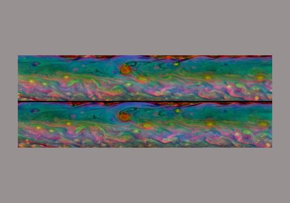 A Cassini 48 felvételéből készített színes mozaik az egyetlen szaturnuszi nap - vagyis 11 óra - alatt végbement változásokat mutatja.