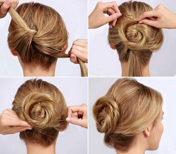 Válaszd ketté a hajad, és kösd szimpla csomóra a tarkódon. Mindkét vastag tincset csavard csigaszerűen a csomó köré, majd rögzítsd hullámcsattal és hajlakkal.