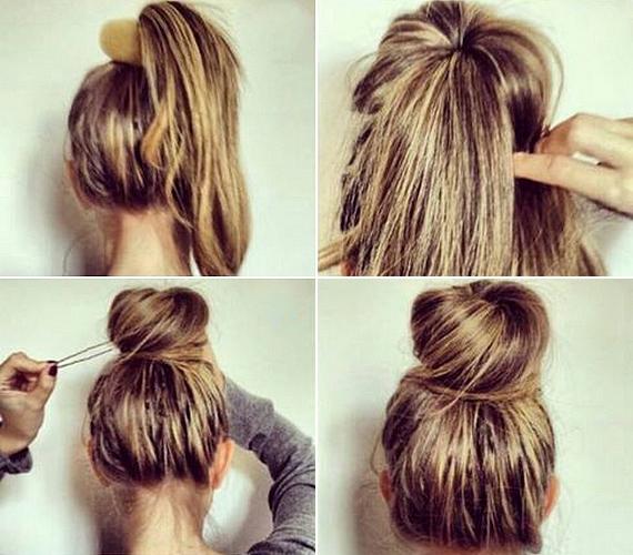 Ehhez a frizurához szükséged lesz egy nagyobb méretű hajfánkra. Készíts magas copfot, húzd rá a fánkot, majd tűrd be alá a maradék hajat is, és rögzítsd hullámcsattal, hajlakkal.
