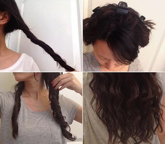 Ha inkább kiengedett, hullámos hajat szeretnél, készítsd el a frizurát hő nélkül. Spriccelj vizet a hajadra, válaszd ketté, és jó szorosan csavard össze mindkét tincset, majd tűzd őket a fejed tetejére. Várj vele egy éjszakát, reggel pedig óvatosan bontsd ki, és rendezd az ujjaiddal. Fújj rá hajlakkot, hogy tartósak legyenek a hullámok.