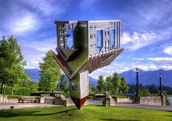 Ez a fejjel lefelé állított, félkész templomot ábrázoló modern szobor Vancouverben található, eredeti nevének jelentése: eszköz a gonosz gyökeres kiirtására.