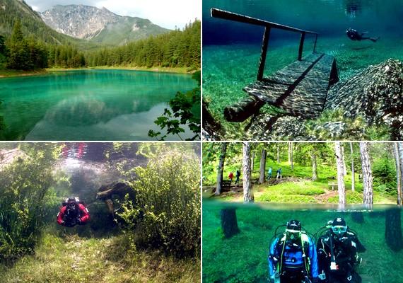 Ausztriában található a Grüner See, vagyis Zöld tó. A hegyekkel és erdőkkel szegélyezett tó vize kristálytiszta.