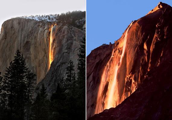 Mintha lávafolyam bukna ki a sziklák közül a kaliforniai Yosemite parkban. A képeken azonban vízesés látható, amelyet olyan szögben világít meg a napfény, hogy a jelenség tűzesésnek tűnik.