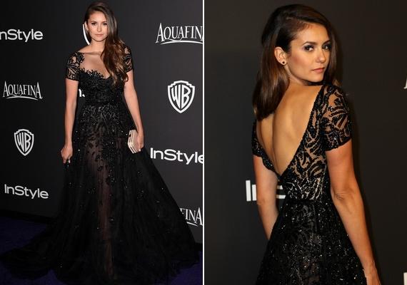 Nina Dobrev egy csodaszép, elegáns, fekete ruhát választott. A színésznő nagyon csinos volt a földig érő, nyitott hátúZuhair Murad-kreációban.