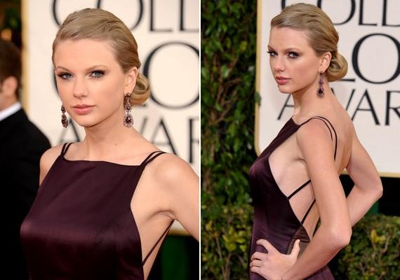 Taylor Swift a megszokott göndör fürtök vagy tarkófrizurák helyett most egyszerű oldalkontyot viselt, és a sminkje is szolid volt.