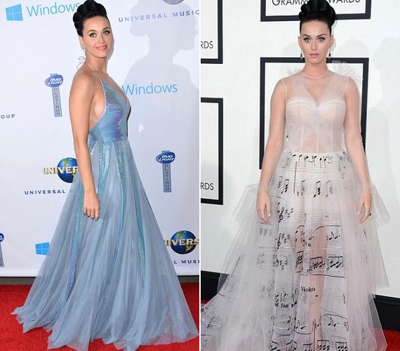 Katy Perry egy hangjegymintásValentino ruhában érkezett, ami áttetsző anyaga miatt látni engedte a híresség melltartóját. A lenge viseletet később leváltotta egy gyönyörű, mélyen dekoltált kék kreációra.