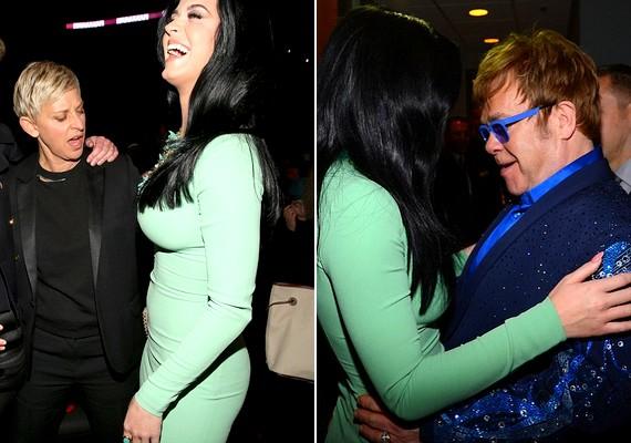 Szembetűnő dekoltázsa mellett Ellen Degeneres műsorvezető és Elton John zenész sem ment el szó nélkül.