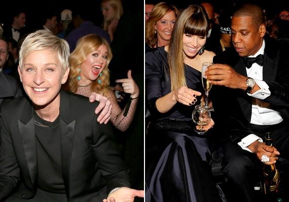 A háttérben pózoló Kelly Clarkson is jó kedvében volt, Jessica Biel és Jay-Z pedig együtt pezsgőztek.