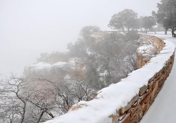 Az összefüggő hóréteg a park nagy részét beborította.