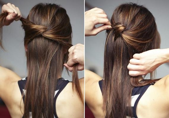 Válassz le két vastag tincset a hajadból, és hátul köss belőlük szimpla csomót. A felül lévő tincset tűzd le hullámcsattal az így létrejött kontyocska mögött, és engedd lelógni.