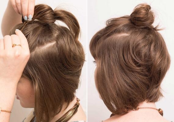 Ha rövid a hajad, tűzd fel félig. Fogd össze a hajad felső rétegét egy hajgumival hátul, majd csavard csigába, és tűzd meg hullámcsattal. Ha kevés vagy vékony szálú hajad van, a copfot tupírozd fel, mielőtt megtekered.