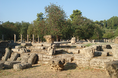 Az ókori olimpiai stadion romjai Olympiában