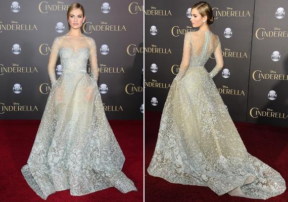 Lily James egy csodaszép, földig érőElie Saab couture ruhában érkezett a bemutatóra.