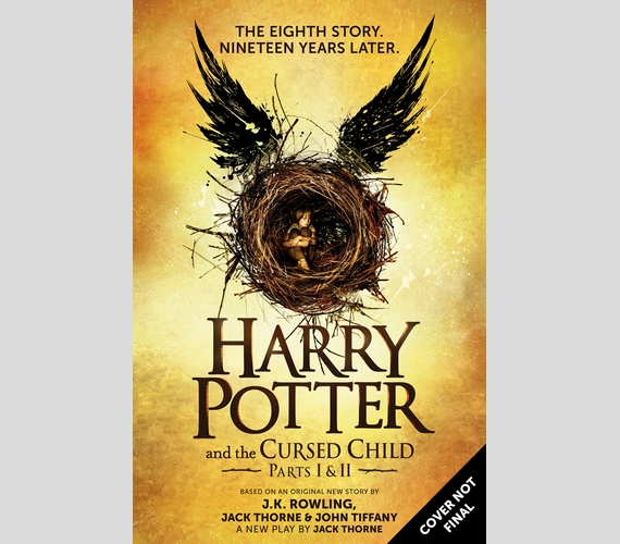 Íme, a nyolcadik Harry Potter-könyv borítóterve, melyen feltüntették, hogy a dizájn még nem végleges. A történet ott folytatódik majd, ahol a hetedik rész véget ért az epilógussal: a felnőtt Harry, Ron és Hermione kalandjairól fog szólni.