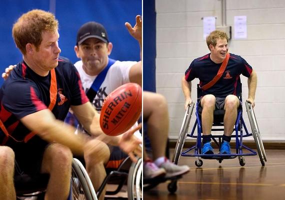 Harry sérült katonákat látogatott meg egy ausztrál rehabilitációs központban, ahol egy amerikaifutball-meccs erejéig ő is kerekesszékbe ült.