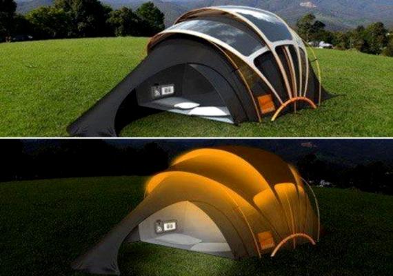 A kirándulást kedvelők másik kedvence lehet a napelemes sátor, ami szintén természet energiáit hasznosítja.