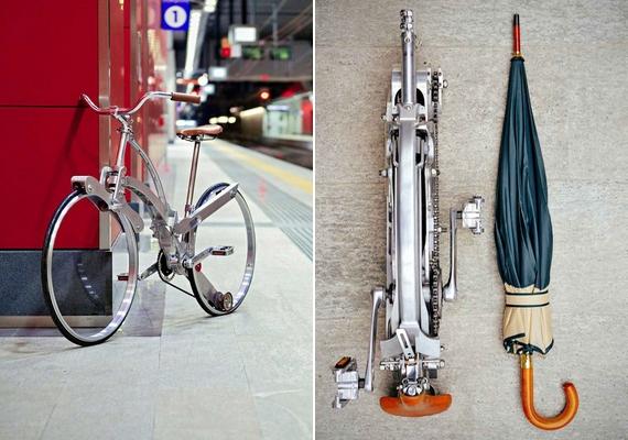A Sada Bike egy esernyő méretűre összecsukható bicikli, amelyhez egy különleges táska is jár, így a kerekeknek is akad hely. A működését itt nézheted meg videón.
