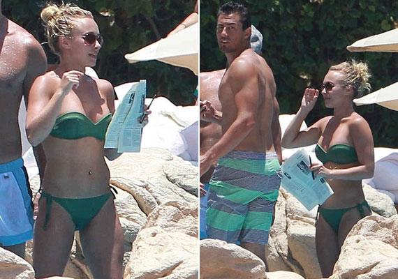 Hayden magabiztosan mozgott a pánt nélküli bikiniben.