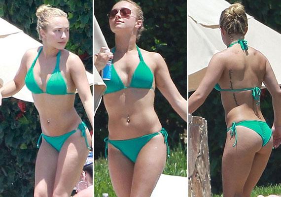 Később egy pántos, de szintén zöld bikinire cserélte a fürdőruháját...