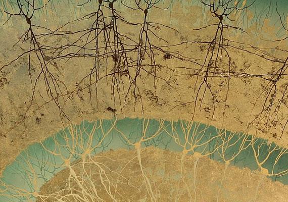 Greg Dunnn kézzel festett képe a hippocampus egy sejtjét ábrázolja - ez a terület felelős az emlékezésért és a navigációért is.