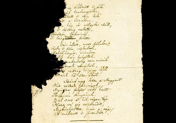 A harmadik oldalra - amiből a legnagyobb rész hiányzik - az utolsó három versszakot írta Kölcsey Ferenc.